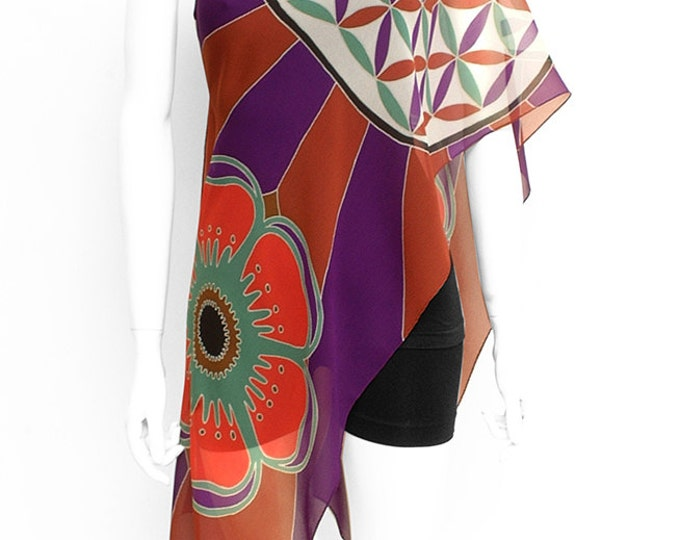 Silk scarf handpained, Mandala, Flower of life, Batik, Hand made scarf, Floral scarf, Purple scarf, Sacred geometry art, Wearable art scarf