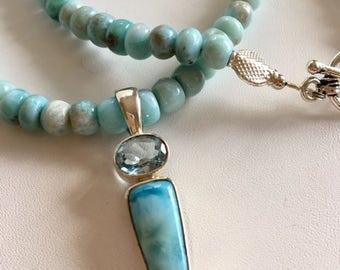 Natural Larimar Necklace With Larimar & Blue Topaz Pendant