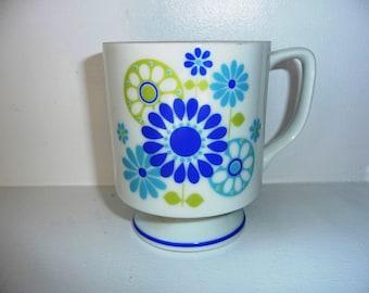 Mod Flower Power Mug- Blue Green Flower Mug- Crazy Daisy Mug- White Pedestal Mug- Footed Mug- Stacking Mug- Stackable- Japan - 1970s 70s 60s