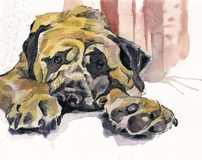 Featured listing image: Dog Painting - Mastiff Art - Watercolor Painting of a Pet - Dog Lover Gift - Original Puppy Painting by Jen Tracy - Pupper Paws
