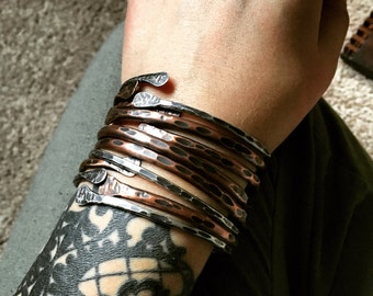 Bangle Bracelets Sterling Silver Bracelets Copper Bangle Bracelets Bangles Rustic Jewelry DanielleRoseBean Set of Bangles