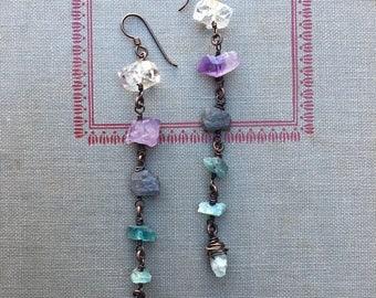 Ombre Dangle Earrings Shoulder Dusters Long Earrings Rustic Jewelry Daniellerosebean Raw Gemstone Earrings Drop Earrings