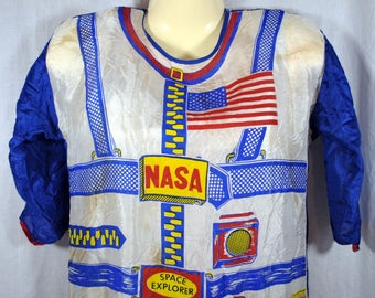 Vintage NASA Space Explorer Halloween Costume - Rayon 1960s - Red White and Blue - No Mask