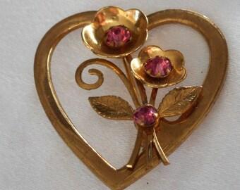 VINTAGE Gold Metal Heart & Pink Rhinestone Flower Costume Jewelry Brooch