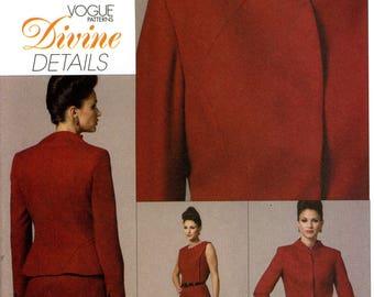 Vogue V8614 Divine Details Suit Jacket Dress Raised Neckline Seam Details Size 16 18 20 22 Uncut Sewing Pattern 2009