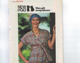 1970s Vintage Sewing Pattern Butterick 4328 Misses Sew and Go Soft Wrap Blouse Easy Top Size 6 Bust 30 31 1970s 70s
