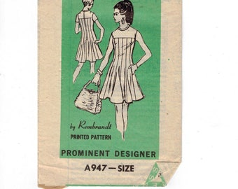 1960s Vintage Sewing Pattern Mail Order A947 Prominent Designer Rembrandt Flared Yoked Cocktail Dress Misses Size 12 Bust 34 60s