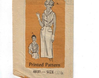 1960s Vintage Sewing Pattern Mail Order 4637 Misses Slim Dress with Front Pleats and Collar Plus Half Size 14 1/2 Bust 35