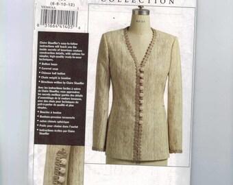 Misses Sewing Pattern Vogue V8369 Caire Schaeffer custom Couture Collection Petite Jacket Size 6 8 10 12 Bust 30 31 32 33 34 UNCUT