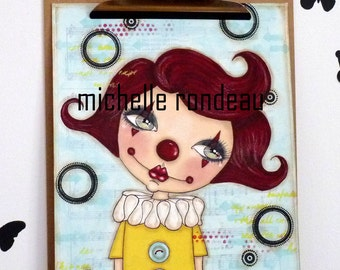Phoebe The Clown Original Mixed Media Painting Art Journal
