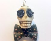 Gigantic Black and White Sugar Skull Day of the Dead Pendant or Ornament Bow Tie and  Roses