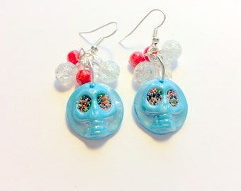 Turquoise Candy Eye Sugar Skull Earrings