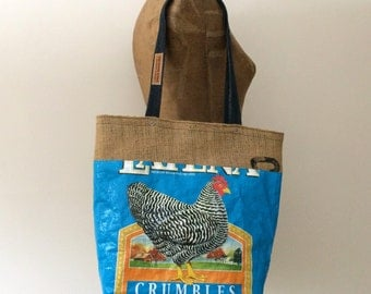 Recycled Chicken Feed Bag Tote with Upcycled Burlap Lining, OOAK, Maine Made