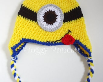 Funny Monster Earflap Hat 1-4 Year READY to SHIP - Blue and Yellow Crocheted Toddler Hat