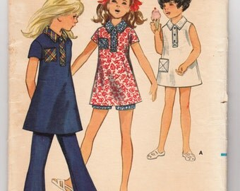 Vintage Sewing Pattern 1970's Butterick 5628 Girl's Dress, Top, Pants and Shorts Size 6