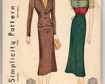 "Vintage Sewing Pattern Ladies' 1930's Skirt & Blouse Simplicity 2723 36"" Bust - Free Pattern Grading E-book Included"