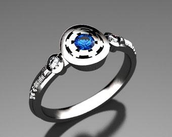 Empirial Star Wars Engagement Ring in Silver, Palladium, or Gold, Sapphire  & Moissanite Engagement Ring, Custom Star Wars Wedding Ring