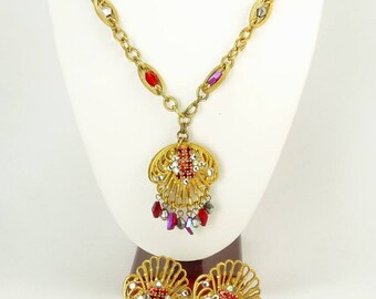 Hobe 1940s Art Deco Pendant Necklace & Earrings