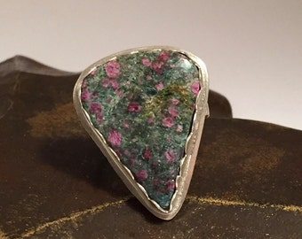 Ruby in Fuchsite Sterling Silver Ring