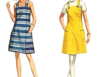 1960s Dress Pattern Jumper Butterick Vintage Sewing A Line Shoulder Straps Women's Misses Size 10 Bust 31 Inches