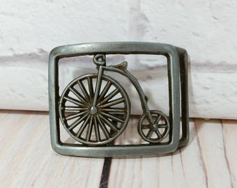 Vintage Bicycle Metal Belt Buckle High Wheel High Step Penny Farthing Bike