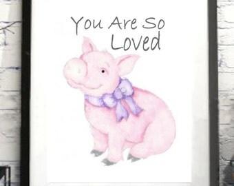 Nursery Pig Print, Quote,Personalized Pig Painting baby's room, gift nursery girl or boy's nursery room, Wall Art, Wall Decor  print digital