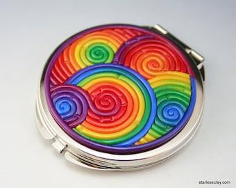 Rainbow Compact Mirror in Fimo Filigree