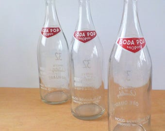 Vintage  Soda Pop Shoppe Bottles • Collection of 3 32 Ounce Pop Bottles • Red White and Clear Large Soda Bottles