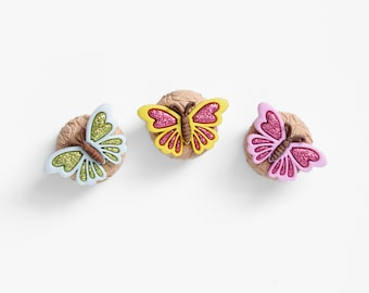 Glitter Butterfly Magnets in Polymer Clay. For Spring, Summer Nursery Decor, Office Decoration, Kids Room, Back to School Teen Locker Decor