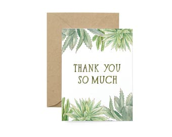 Botanic Succulents Thank You Card - Illustrated Appreciation, Friendship, Thanks Greeting Card