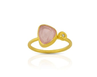 Rose cut Pink Quartz Ring with a diamond made with sterling silver coated in 18K gold, little diamond ring,