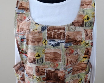 Great Grandma's No Strings Apron in a Route 66 Print