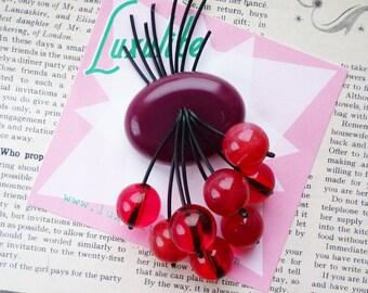 Classic Luxulite Cherry brooch! Handmade 40s style Wine bakelite fakelite style novelty juicy red cherry brooch