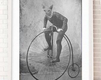 Cat riding bike - Bike Art - Bike Print - Bike Artwork - Bike Gift - Gift for Bike Rider - Bicyclist Art - Wall Decor - Wall Art - Cat Art