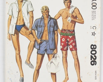 Vintage McCall's Men's Shirt and Bathing Suits  Size 38 pattern 8026 date 1982