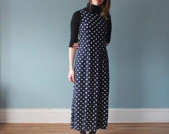 navy polka dot maxi dress | sleeveless corset maxi dress | 1990s small - medium