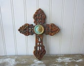 Rustic cast iron cross filigree faux rust verdigris wall hanging 8 inch metal cross brown Christian Divine Religious decor LR4