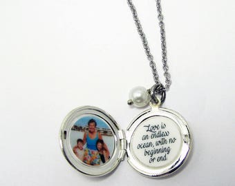 Sand Dollar Photo Locket with dangling pearl
