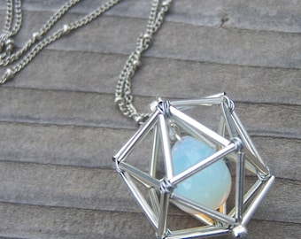 NEW! Geometric Necklace - Icosahedron - Opalite - Silver Tones - Long Chain