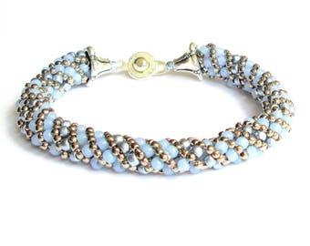 blue bead bracelet handmade bracelet seed bead bracelet silver beaded bracelet boho bracelet festival bracelet hippie bracelet