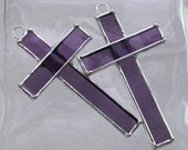 Small Stained Glass Cross Suncatcher or Ornament in Purple
