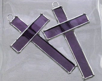 Small Stained Glass Cross Suncatcher and Ornament in Purple