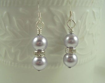 Lavender Swarovski Pearl Earrings - Wedding Party Gifts - Lavender Earrings - Gifts for Her - Bridesmaid Gift Ideas - Gifts For Moms