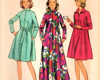 1970s Simplicity 5314 Vintage Sewing Pattern Misses Long Robe, Short Robe Size Small, Size Medium