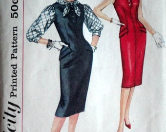 Vintage 50's Simplicity 3111 Sewing Pattern, Misses' Dress, Jumper and Blouse, Size 14, 34 Bust, Uncut, 1950's Fashion