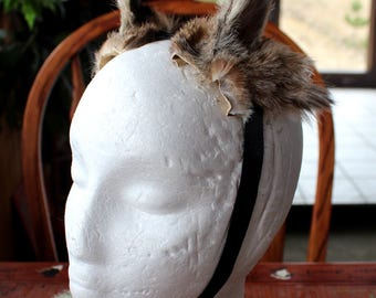 Bobcat ears headdress - real eco-friendly adjustable bobcat fur ears costume for totemic ritual, cosplay and dance