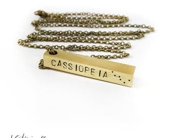 Cassiopeia Bar Necklace, Constellation Necklace, Constellation Jewelry, Brass, Unisex, Long Necklace, Birthday, Stars, Long Chain