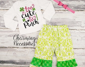Baby Girl St Patricks Day Outfit, Toddler Girl Clothes, Top and Ruffle Pants Set, Too Cute To Pinch green pink black by Charming Necessities