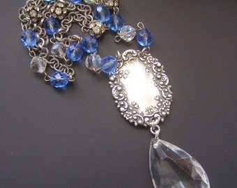 Chandelier Crystal Necklace, Blue Bead Necklace, Silver FLoral Necklace, Art Nouveau Necklace, Vintage Assemblage Jewelry