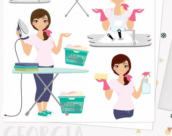 Laundry woman character clipart, housework chores woman clipart set with blonde, brunette and auburn hair (Georgia L189)